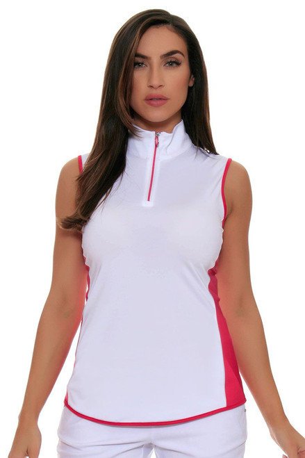 Greg Norman Zip Color Blocked Sleeveless Golf Shirt