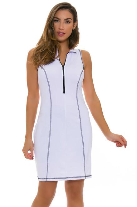 Back Pocket Zip Scuba Golf Dress - White/Black