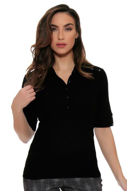 EP Pro Women's Power Play Eyelet Trim Detail Elbow Sleeve Golf Polo Shirt