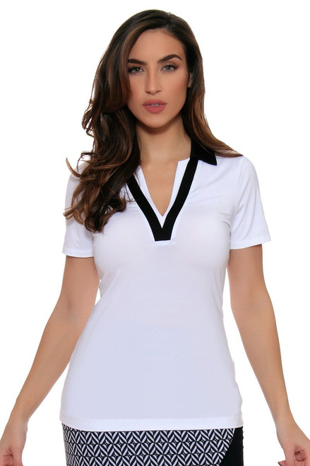 EP Pro Women's Power Play Crossover Collar Double Placket Trim Golf Polo Shirt
