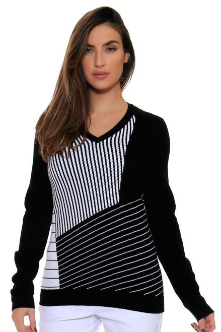 EP Pro Women's Power Play Blocked Graphic Stripe V Neck Pullover