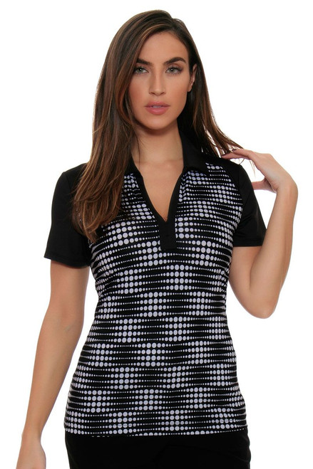 EP Pro Women's Power Play Optical Dots Print Golf Polo Shirt