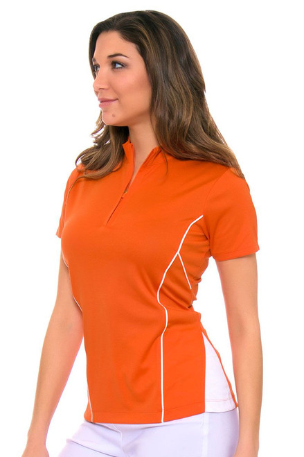 EP Pro Women's Cassis Zip-Mock Contrast Piped Golf Short Sleeve Shirt