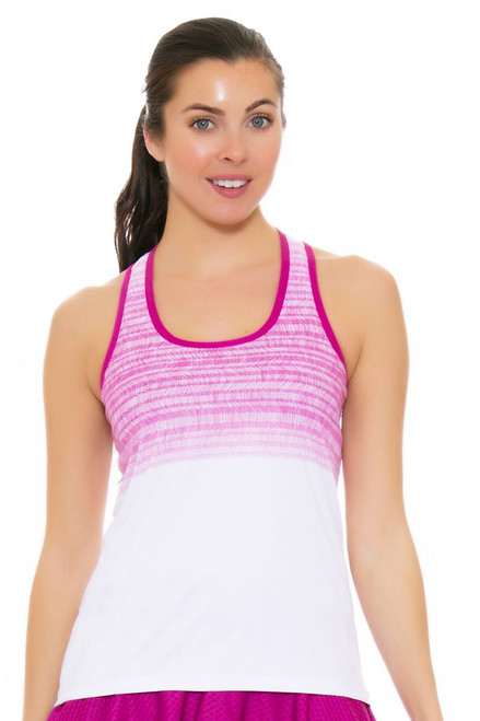 Solfire Women's Artisan Stretch Your Limit White Raspberry Tennis Tank