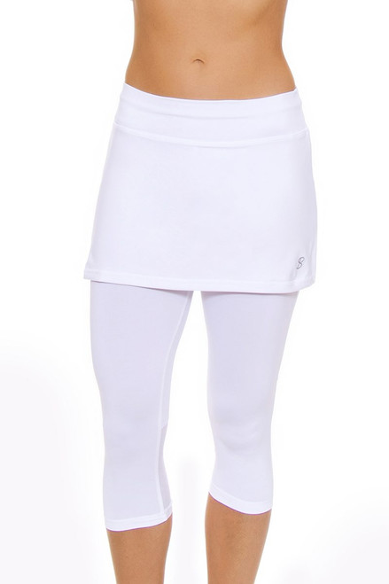brand new 7622b 9d911 ... Sofibella Women s Victory White Tennis Skirt Leggings SFB-1526-white  Image ...