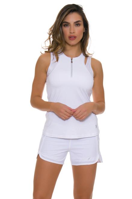 Sofibella Women's Scallop White Tennis Short SFB-1619 Image 1