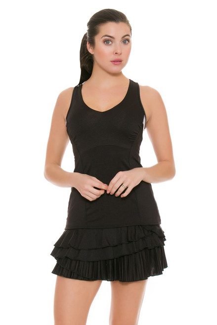Lucky In Love Women's Outside the Lines Rally Pleat Tier Black Tennis Skirt