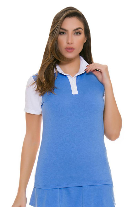 Redvanly Women's Van Buren Blue and White Golf Short Sleeve