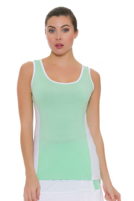 Redvanly Women's Carol Green White Tennis Tank RV-3358