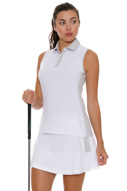 Redvanly Women's Decatur White and Grey Tennis Skirt