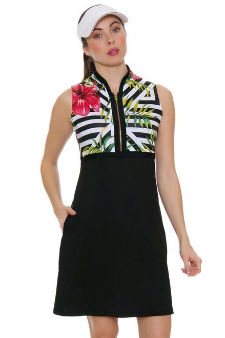 Allie Burke Women's Hibiscus Geo Print Sleeveless Golf Dress