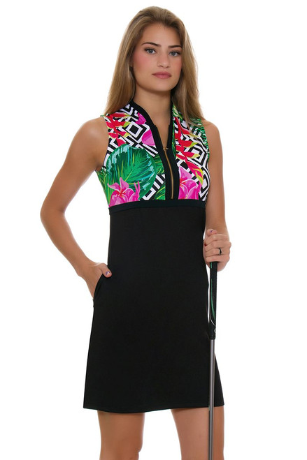 Allie Burke Floral Geo Print Black Golf Dress