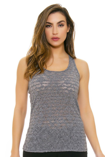 Oiselle Women's Heather Grid  Heather Charcola Workout Layering Tank OI-216117 Image 1