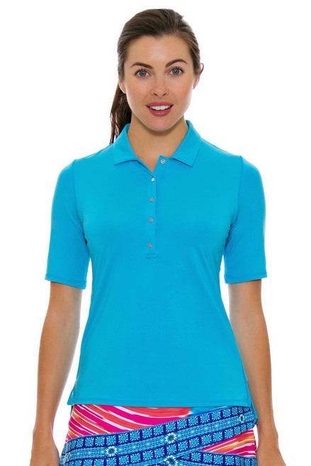 Lucky In Love Women's Divine Le Snap Half Sleeve Ocean Golf Polo