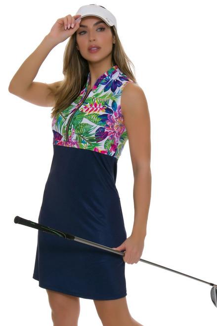 Allie Burke Exotic Floral Navy Golf Dress