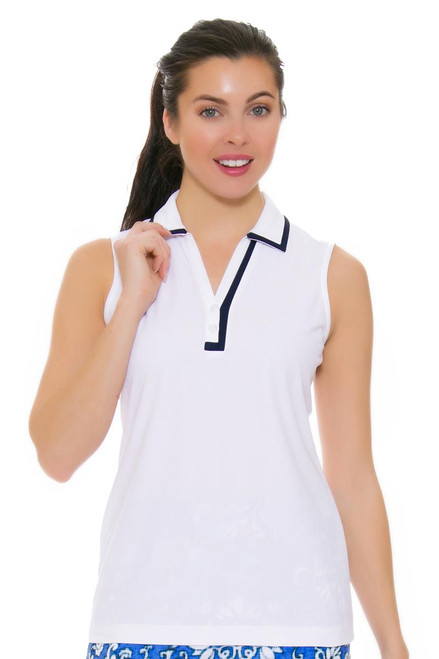 EP Pro NY Women's Beyond Blue White Y-Neck Golf Sleeveless Polo