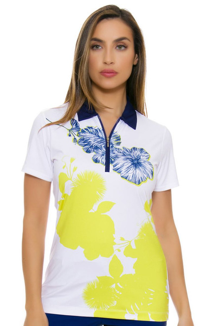 EP Pro NY Women's Palmetto Placed Print Golf Short Sleeve Polo