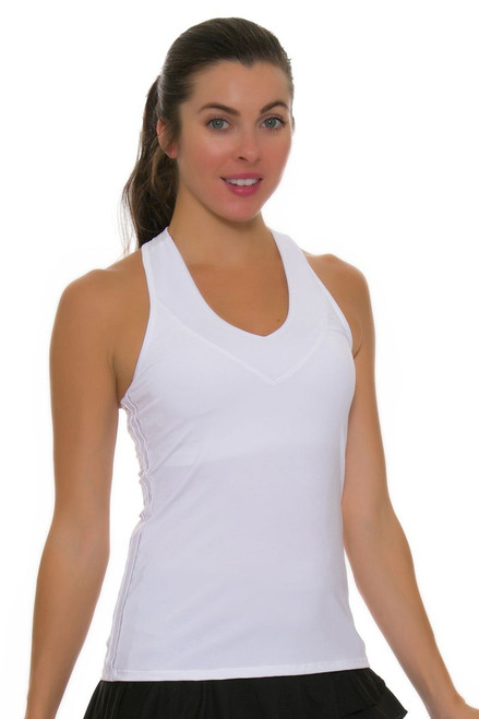 Lucky in Love Core White V-Neck Racerback Tank