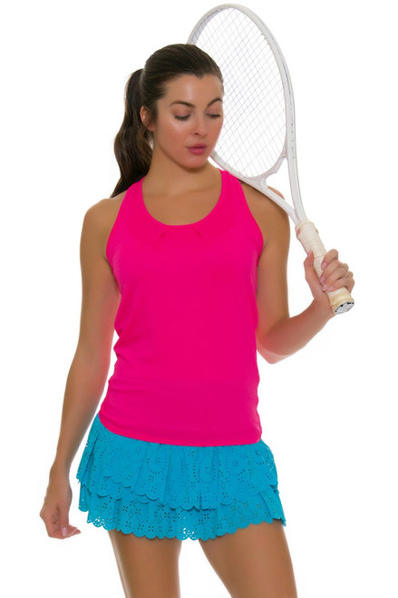 1af9054f49423 ... Lucky In Love Women s Core Tops Tie Back Shocking Pink Tennis Tank ...