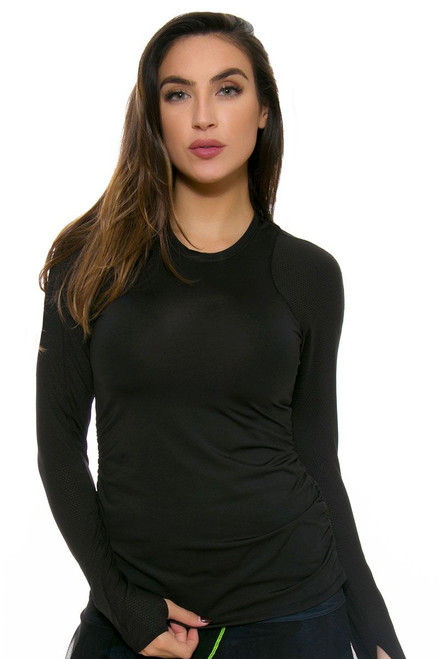 Lucky In Love Women's Core Tops Athletic Crew Black Tennis Long Sleeve
