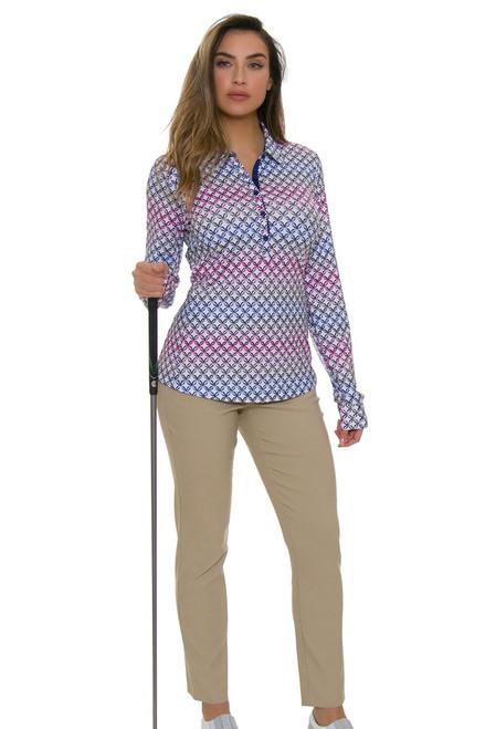 EP Pro NY Women's Basics Khaki Bi-Stretch Slim Ankle Golf Pants