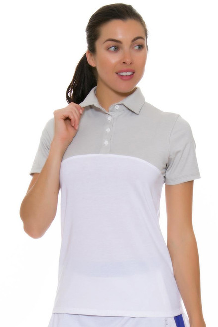 Redvanly Women's Grace Golf Polo in Grey and White