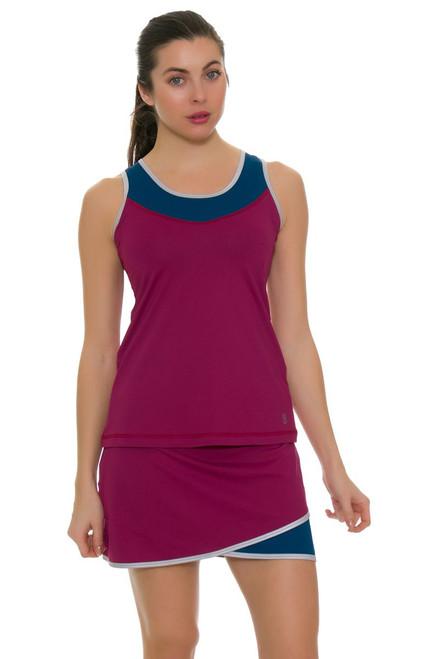 """Sofibella Women's Flavor Of Wine Scallop Front 15"""" Tennis Skirt"""