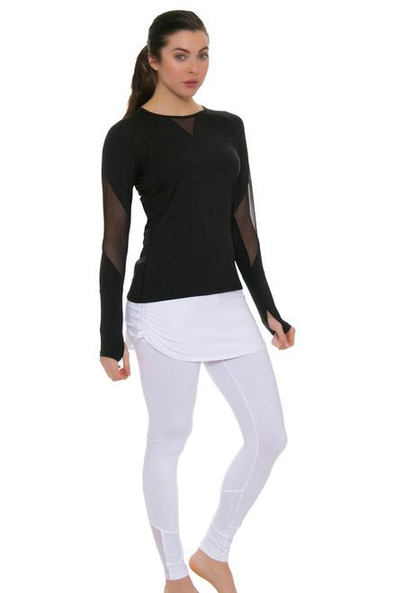 Lucky In Love Women's Core White Tennis Ruched Skirt Legging