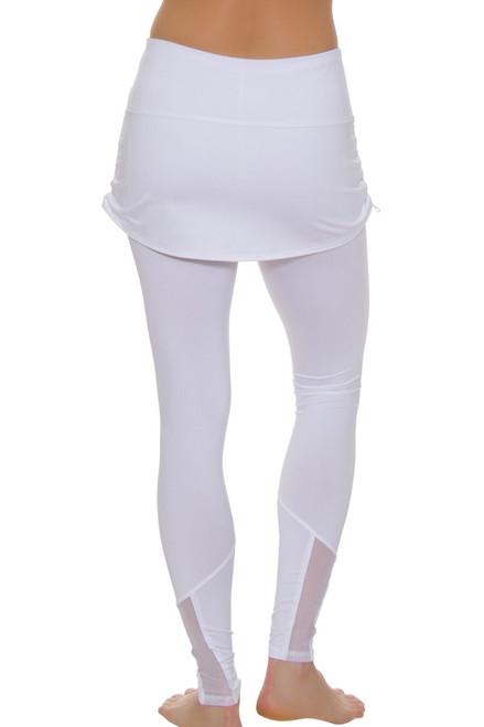 0d1debaceeb657 ... Lucky In Love Women's Core White Tennis Ruched Skirt Legging ...