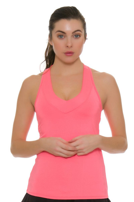 Lucky in Love Core V-Neck Lava Tennis Tank with Built-in Bra