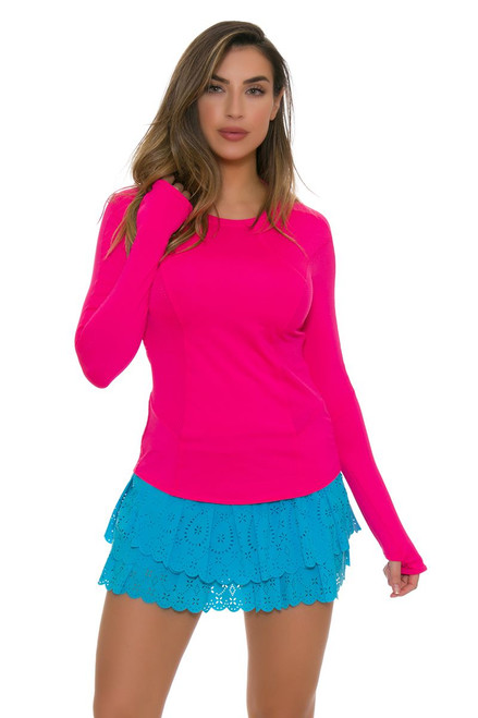 Lucky In Love Women's Laser Cut Core Ocean Tennis Skirt LIL-CB188-195410 Image 1