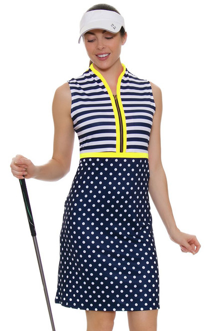 Allie Burke Polka Stripe Navy and Yellow Print Golf Dress