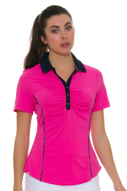 Greg Norman Women's Royal Palm Hibiscus Golf Short Sleeve Shirt