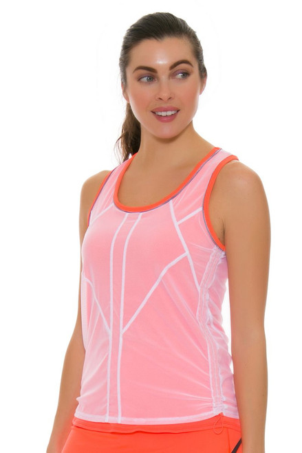 Lucky In Love Women's Spaced Out Mesh Layered Bungee Tennis Tank