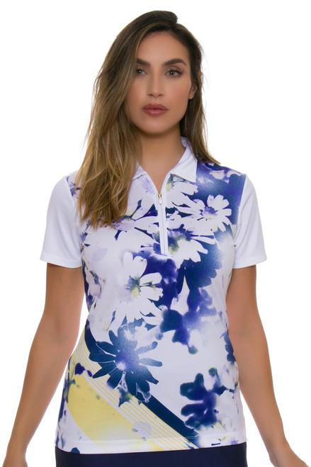 EP Pro NY Women's Spectator Sport Placed Daisy Print Golf Short Sleeve Polo