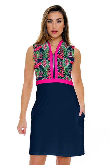 Allie Burke Summer Garden Navy Print Golf Dress