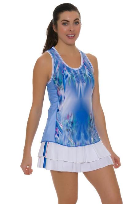 Lucky In Love Women's Floral Fantasy Long Stripe Tennis Skirt