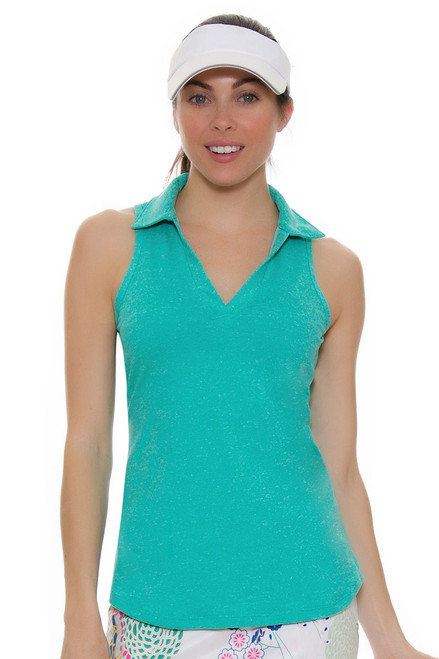 Allie Burke Seafoam Green Heather Golf Sleeveless Polo Shirt
