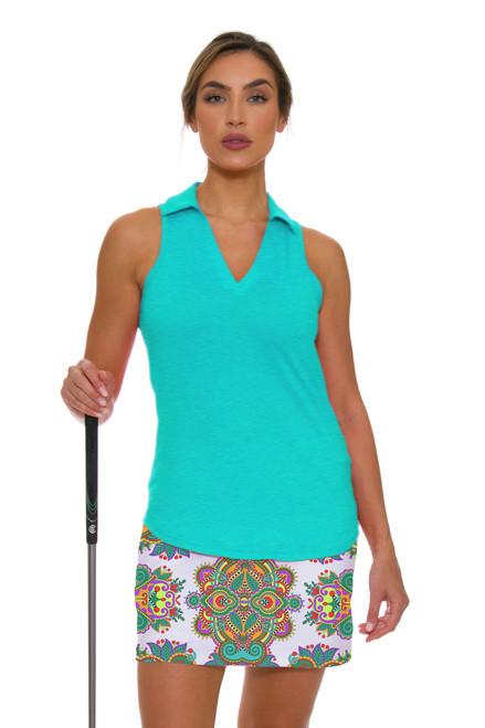 Allie Burke Seafoam Green Scarf Print Pull On Golf Skort