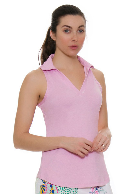 Allie Burke Light Pink Golf Sleeveless Polo Shirt
