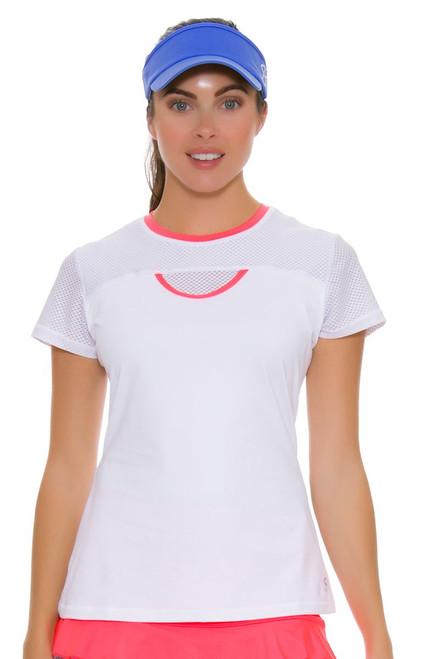 Sofibella Women's Montreal Net Tennis Short Sleeve Shirt