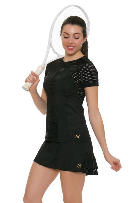 Gemmeo Women's Ruffle Mesh Black Tennis Skirt GEM-Gem101-BLK Image 1