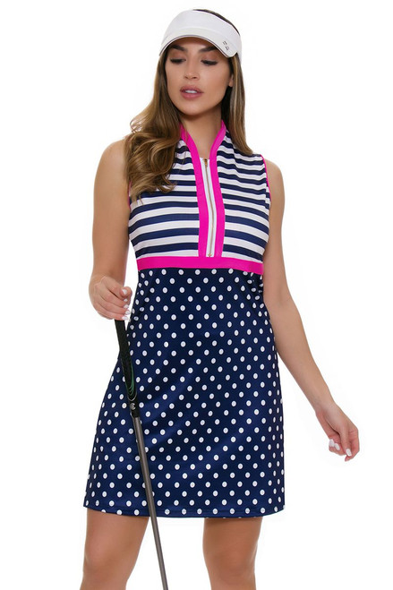 Allie Burke Navy Polka Stripe Pink Trim Print Golf Dress
