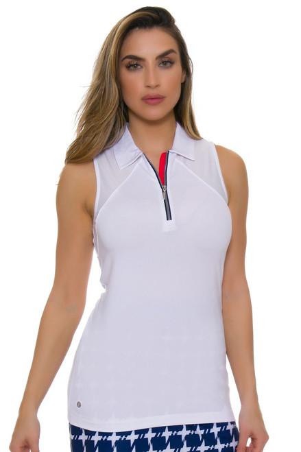 EP Pro NY Women's Graphic Jam Mesh Blocked Trim Golf Sleeveless Shirt