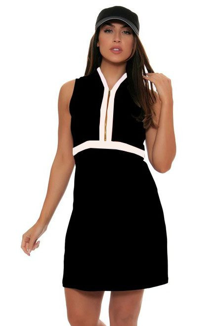 Allie Burke Black With White Trim Golf Dress Ab Gd001 011
