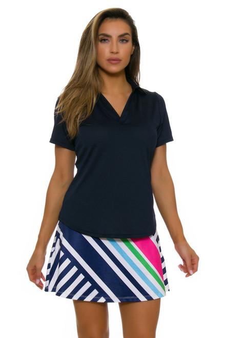 Allie Burke Cross Stripe Navy Pink Flounce Pull On Golf Skort