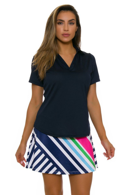 Allie Burke Cross Stripe Navy Pink Flounce Pull On Golf Skort