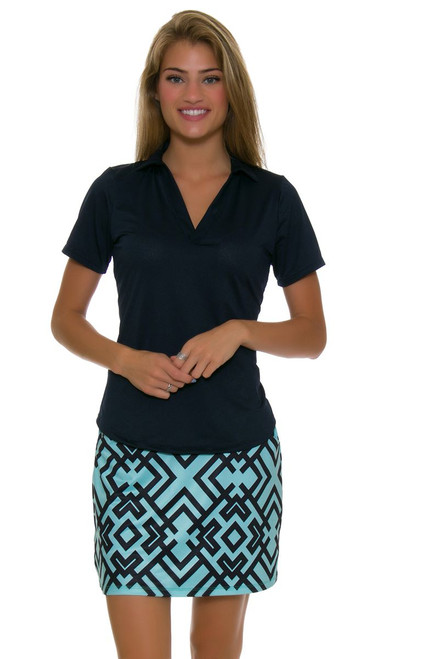 Allie Burke Geo Turq And Navy Pull On Golf Skort AB-BSKG01-GTN Image 1