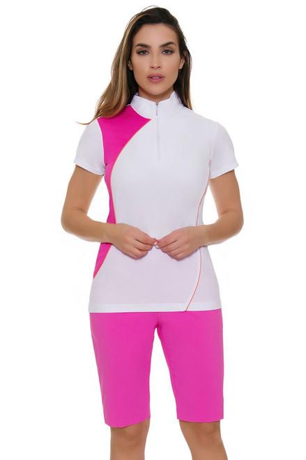 EP Pro NY Women's Brilliants Tech Stretch Mesh Inset Detail Golf Shorts