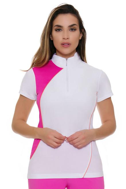 EP Pro NY Women's Brilliants Convertible Zip Collar Golf Cap Sleeve Polo